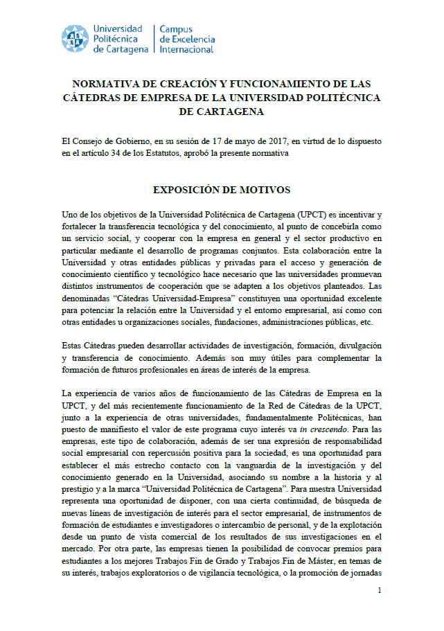 Normativa de creación de Cátedras de empresa