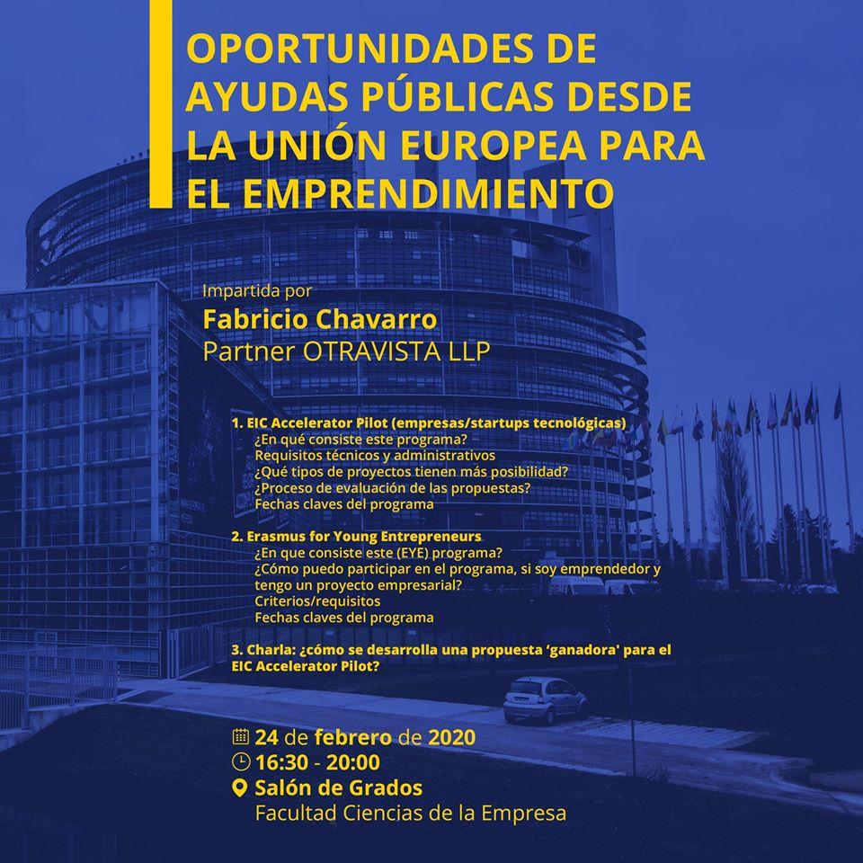 """Taller de """"Oportunidades de Ayudas Públicas desde la Unión Europea para el Emprendimiento"""""""
