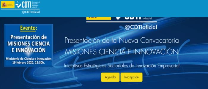 Convocatoria Misiones Ciencia e Innovación